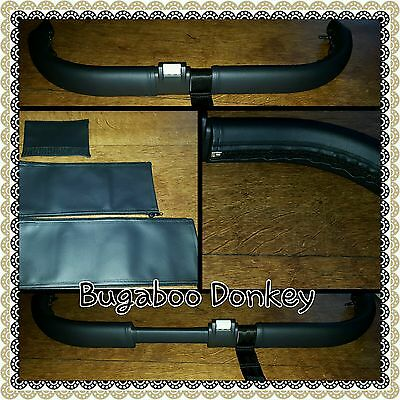 Bugaboo donkey twin BLACK faux leather zip on handle bar covers