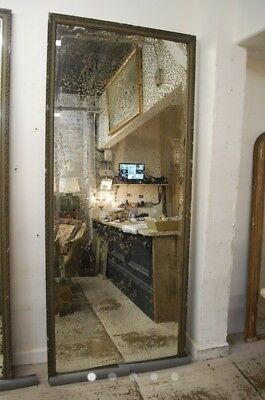 Huge Antique French Original Mirror Mercury Plated Rare Size