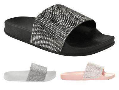 Kids Girls Slip on Comfy Diamante Rubber Casual Flip Flop Slippers Shoes Sliders