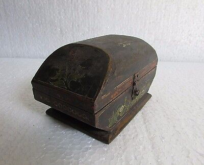 Vintage Old Handcrafted Painted Rare Unique Wooden Jewelry Box, Collectible