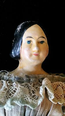 RARE HAIR MILLINERS DOLL 1800's PAPIER MACHE ANTIQUE DOLL