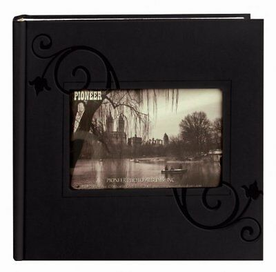 Pioneer Photo Albums Embossed Floral Frame Leatherette Cover Photo Album Black