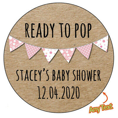 Personalised BABY SHOWER READY TO POP Gender Reveal Stickers Vintage Chic - 223