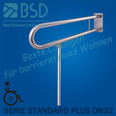 Toilet grab bar – angled tilting Ø32 mm with leg support, stainless steel