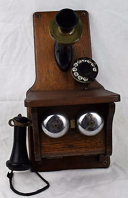 Antique Cracraft-Leich wood fiddleback telephone with earliest rotary dial