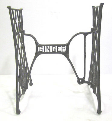 Vintage Antique Ornate Cast Iron Singer USA Sewing Machine Treadle Table   T