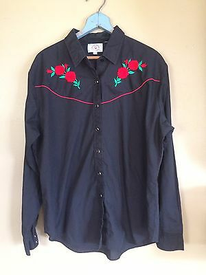 Vintage Rose Black Pearl Button Up Western Cowboy Shirt Rockabilly XXL