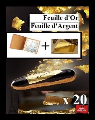 20 Feuilles d'Or Argent 99,9% pure 24K Edible Gold Leaf paper sheets
