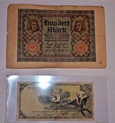 Lot of 2 Old German Banknotes