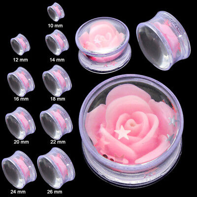 Single Acrylic Double Flared Ear Plugs Tunnels Expanders 12-26mm Gauges