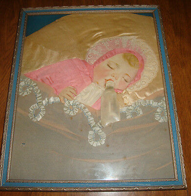 Framed Baby Picture~Real Blond Baby Hair~Lace, Fabric-Ribbon Layette~Satin Etc
