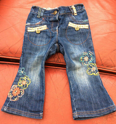 NEXT cute flare jeans vgc 9-12 months spring summer buttons embroidered a76