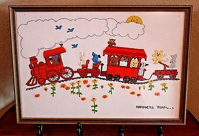 """Framed """"Happiness Train"""" Picture Vtg Hand Embroidered Nursery Child's Frame Art"""