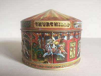 Vintage Churchill's Of London Carousel Metal Candy Tin Round Container Box
