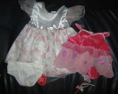 BAB Build A Bear 2 Dresses Pink Hearts White Pink Stars