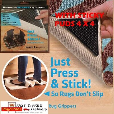 2, 4, 8, 16 x RUG CARPET MAT GRIPPERS RUGGIES NON SLIP REUSABLE GRIPSUT WITH BOX