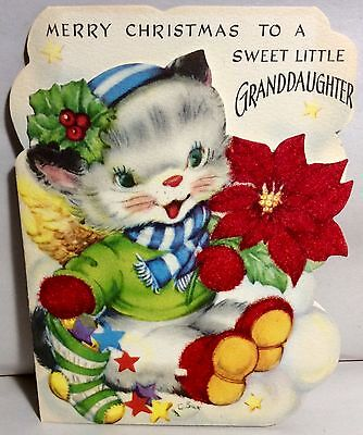 Adorable Baby Kitten Flocked Poinsettia Boots Vintage Christmas Greeting Card
