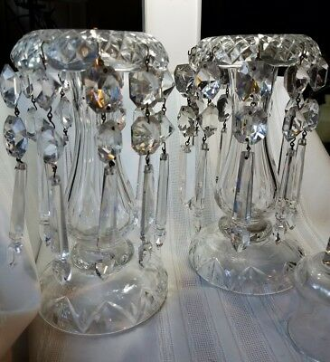 """Antique Chandelier Lead Crystal Candle Stick Holders 9"""""""