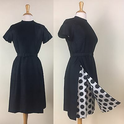 Vintage 1950s Black Dress Sheath Polka Dot Dupioni Silk 50s
