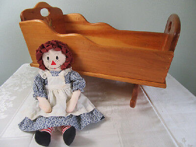 Vintage Raggedy Ann Doll and Wooden Doll Rocking Cradle