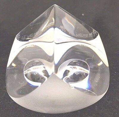 Correia Signed Numbered Faceted Art Glass Paperweight Triangle Pyramid