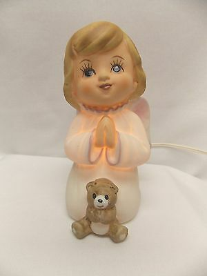 Praying Little Girl w/Bear Porcelain Angel Electric clip Cord & Bulb 6  IN