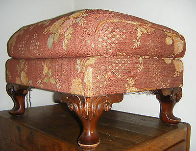 Antique Large Upholstered Footstool Ottoman w/Cabriolet Legs