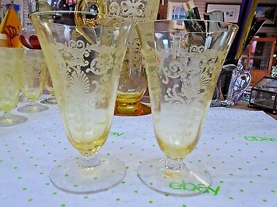 Set of 2 Fostoria Versailles Yellow Topaz Etched Goblets RARE FOSTORIA GLASS