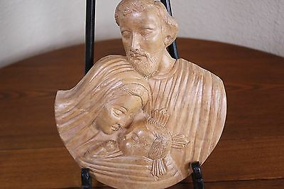 Wood Hand Carved Vtg Folk Art Jesus Mary Joseph Holy Family Plaque Wall Hanging