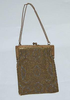 vintage mesh metal bead purse gold silver from France