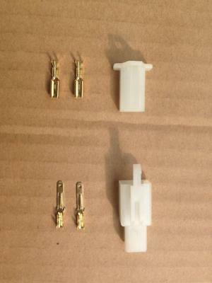 New 2 Way Pin Plug Brass Connectors Socket Scooter Moped