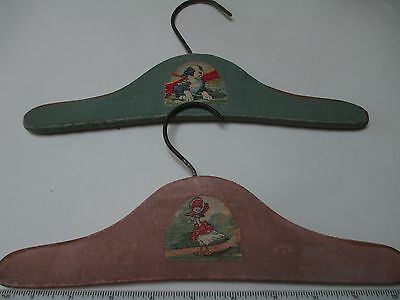 2 Vintage Clothes Hangers 1940s Childs Wood  Dog Duck Decal
