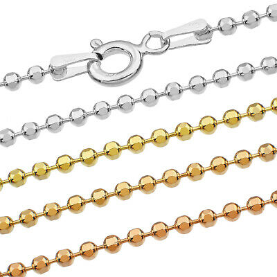 Ball Chain Necklace - Real 925 Sterling Silver - 16-30 in + 1.00-1.90 mm