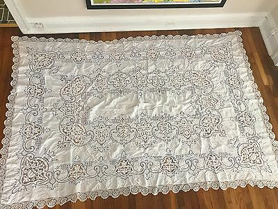"Large White w/ Purple Vintage Cutwork Embroidery Tablecloth 1950s - 100"" x 68"""