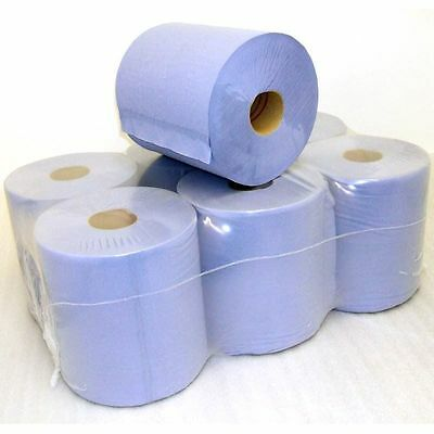 24 Pack 2 Ply Blue Centre Feed Paper Embossed Wiper Rolls ** Special Price **
