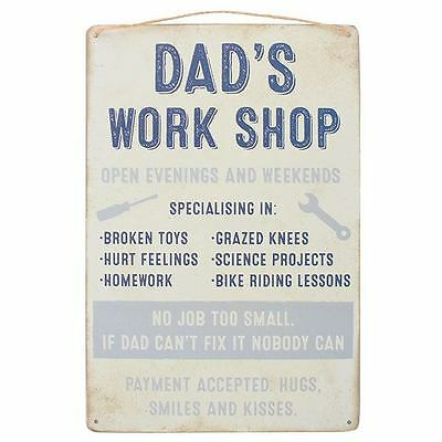 Dad's Workshop Metal Wall Hanging Sign Birthday Plaque Funny Fathers Day Gift