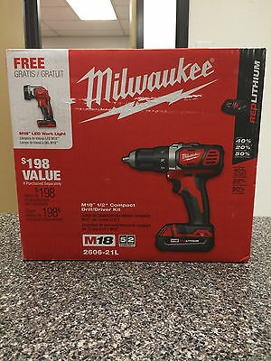 """Milwaukee M18 1/2"""" Compact Drill/Driver Kit WITH M18 LED Work Light -2606-21L"""