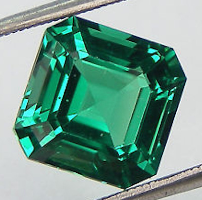 Lab Created Hydrothermal Emerald Green Asscher Loose stone (4x4mm - 14x14mm)