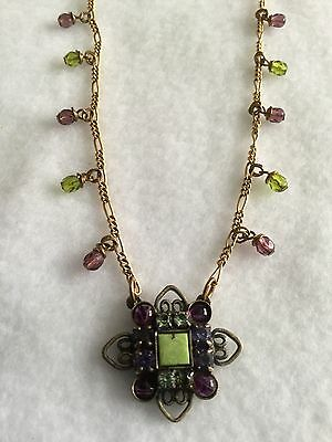 Mary Demarco Vintage Green And Purple Crystal Pendant