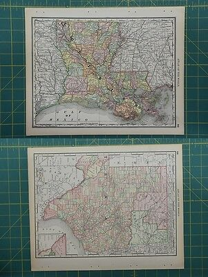 Texas Lousiana Vintage Original 1892 Rand McNally World Atlas Map Lot