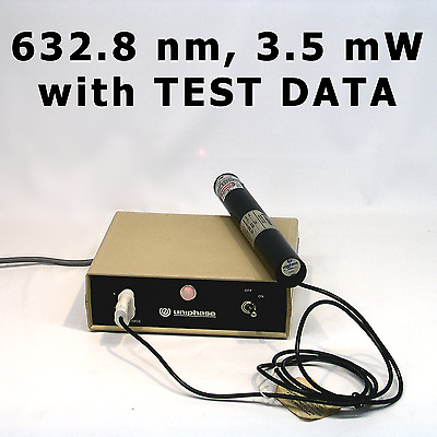 JDS UNIPHASE 1101P Helium Neon (HeNe) Laser & Power Supply - with TEST DATA