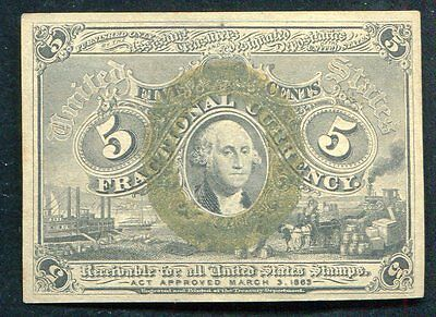 Fr. 1233 5 Five Cents Second Issue Fractional Currency Gem Unc