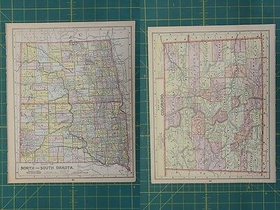 North South Dakota Colorado Vintage Original Antique 1892 World Atlas Map Lot