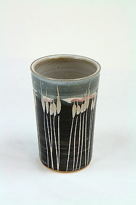 Vintage Handthrown Pottery Vase Cup Cattails Artisan Blues Grays Handmade Signed