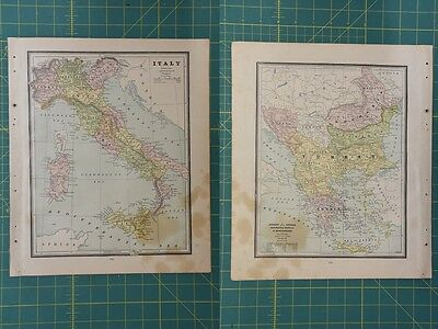 Italy Turkey Vintage Original 1886 Cram's World Atlas Map Lot
