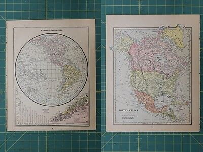 Western Hemisphere North America Vintage Original 1892 World Atlas Map Lot