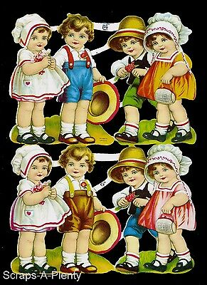 German Embossed Scrap Die Cut - ADORABLE Children CUTE   EF7122
