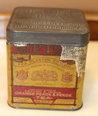 Vintage Lipton's Tea Planter Tin Ceylon Original Label