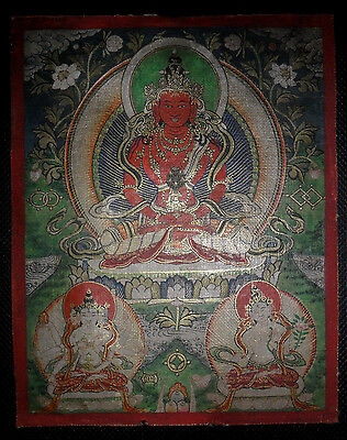 Antique buddhist thangka painting fine very rare old