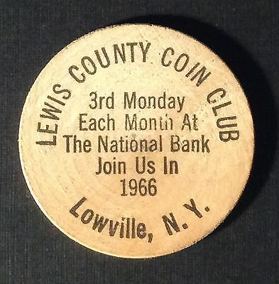 1966 LEWIS COUNTY COIN CLUB Lowville New York Wooden Nickel